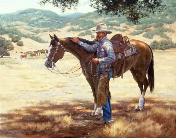 Dillon's Vaquero and horse oil painting