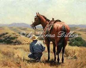 Lorna Dillon's Looking Good cowboy and horse gazing out over valley with cattle art print