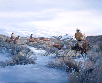 cowboys, horses, cows in snow