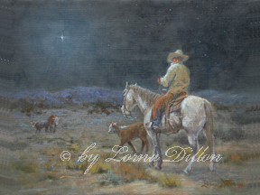cowboy and calf at night