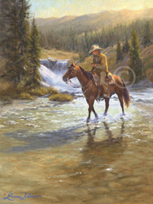 Lorna Dillon Spring Runoff - cowboy crossing fast creek art print