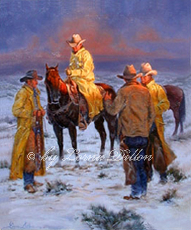 Lorna Dillon's Slicker Season - cowboys gathering at dawn in snow wearing slickers art print