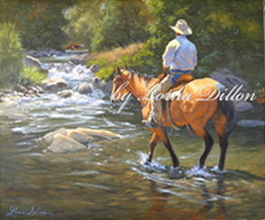 Lorna Dillon's Up a Creek - cowboy in creek gathering stray cows art print